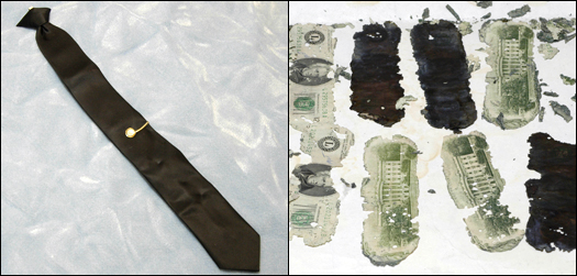 DB Cooper's tie, and portions of the money find, courtesy of the FBI