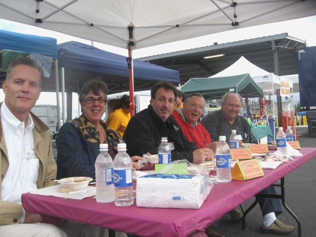 Celebrity chili judges, from l-r, Mark Lindquist, Kathleen Merryman, Ed Troyer, Tom Seigel and Art Davila.