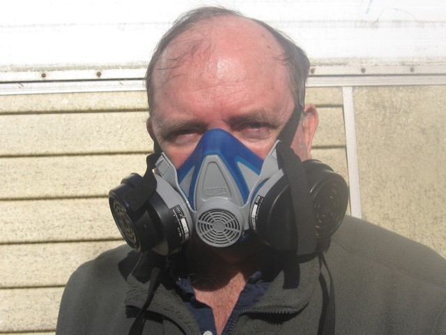 wood smoke, BAS, respirator, close-up, best