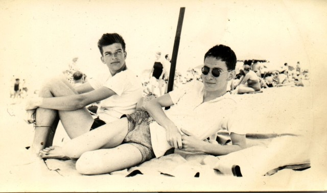 My dad, Al Smith, left, and his friend Julie, right, at Jones Beach in the 1930s.