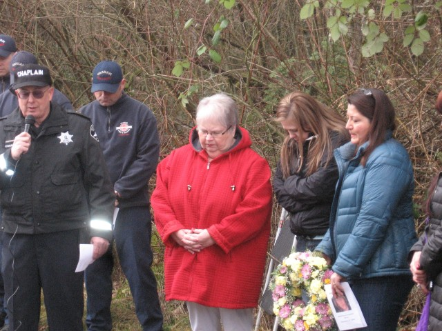 Danny Morse memorial, Sharon, Evelyn and Chaplain, 2. 14. 14