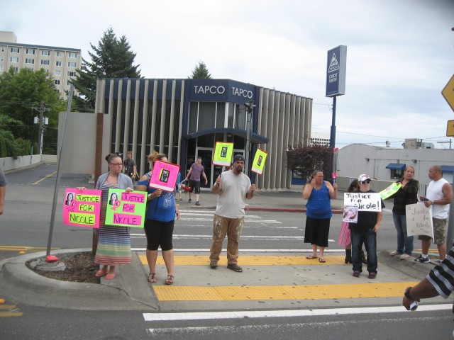 PCSD, Nicole, groups signage on street, court