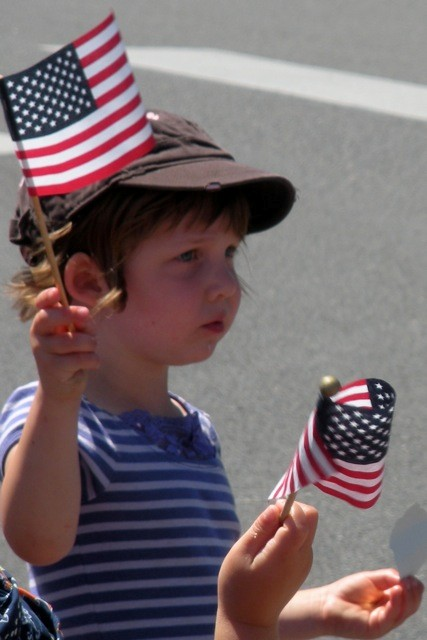 4th, parade, kid, brown hat and flag, Best