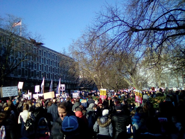 R, London crowd, outside the US Embassy, Lisa, 1. 21. 17.jpg
