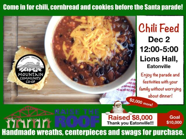 Eatonville, Santa parade, chili feed, 11. 28. 17