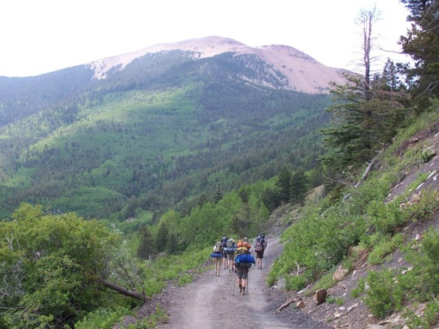 Philmont, trail to Mt. Baldy, campers