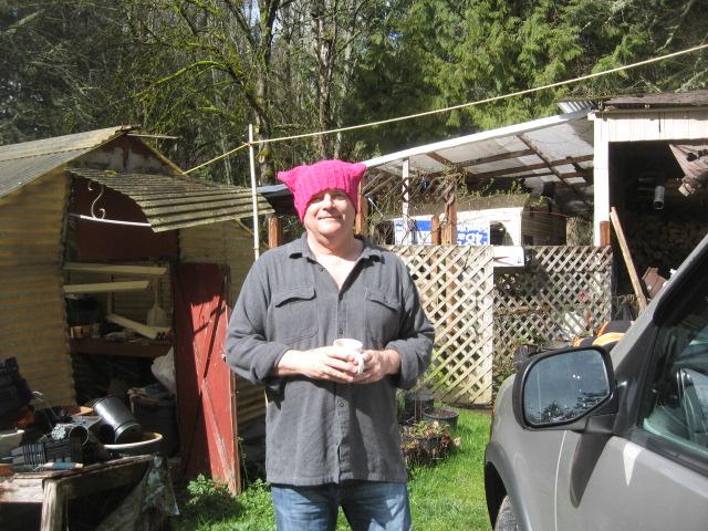 BAS, Headshot, pink pussy hat, w trailer, 3. 14. 17