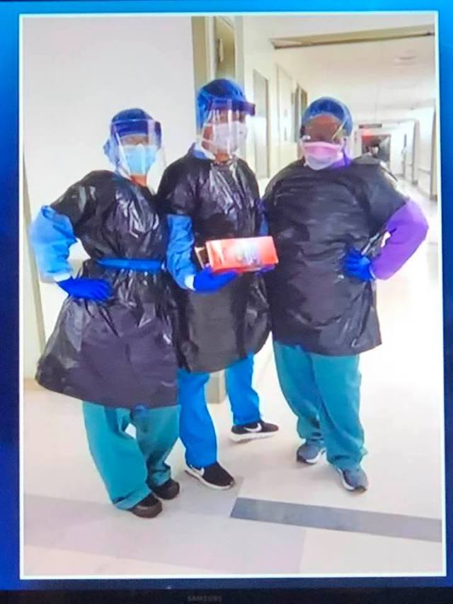 Covid pix, nurses wearing garbage bags, Fb